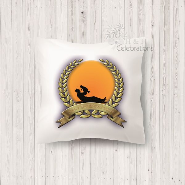 No 1 Stepfather And Infant Laurel Silhouette Personalised Cushion